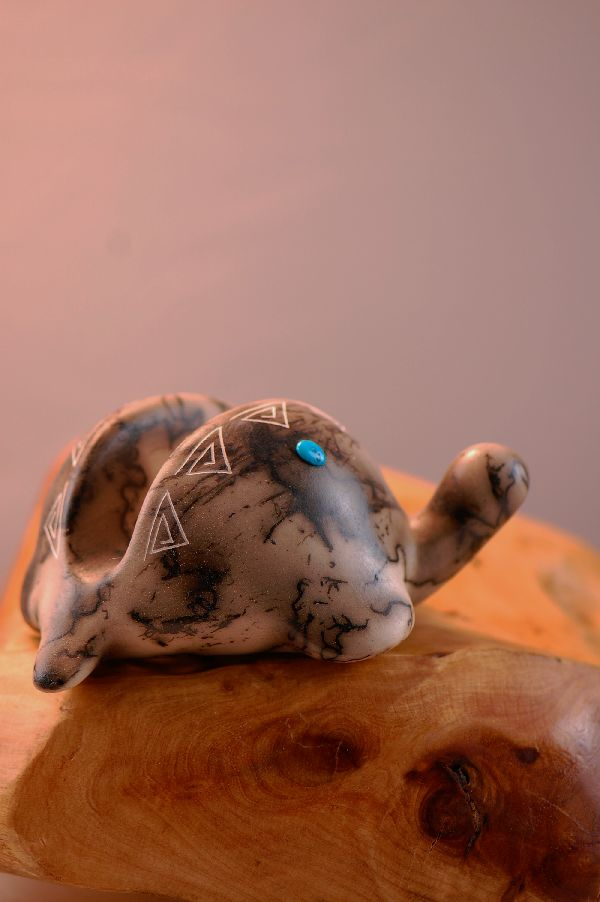 Navajo Horse Hair Turtle Pottery Business Card Holder