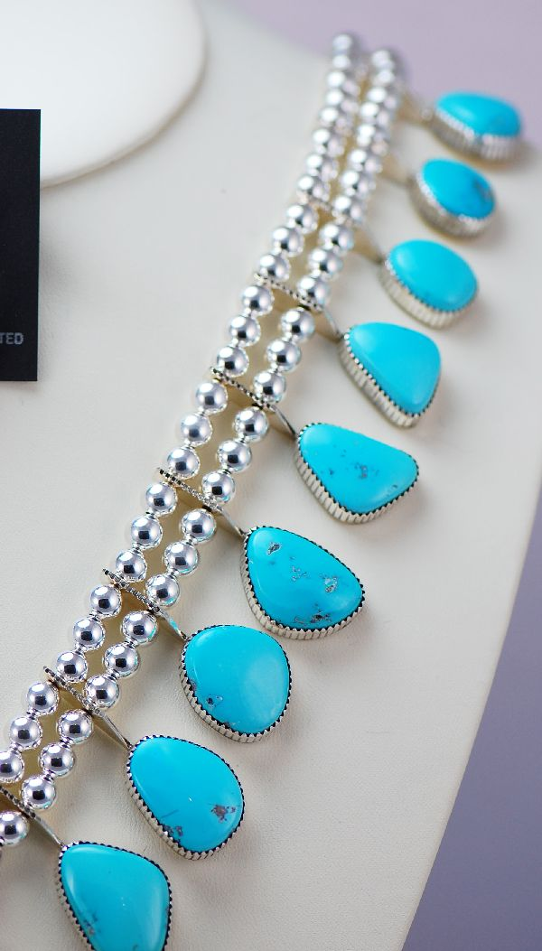 Navajo – Magnificent Darling Darlene Turquoise Squash Blossom Necklace with Matching Earrings by Garrison Boyd