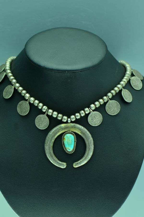 Navajo – Vintage (1940's) Sterling Silver and Mercury Dime Squash Necklace with Turquoise (Private Collection)