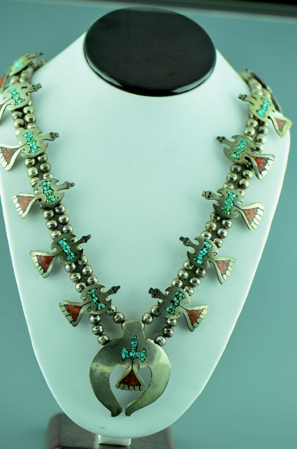 Navajo – Vintage (1960's) Sterling Silver Turquoise and Coral Chip Inlay Thunderbird Squash Necklace (Private Collection)