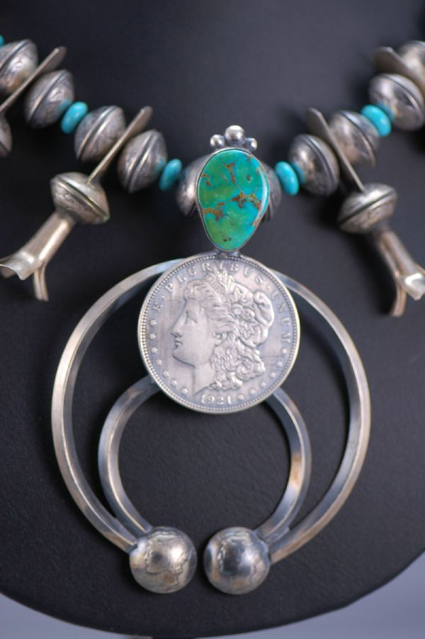 Navajo – Old Style Silver Dime Squash Blossom by James McCabe