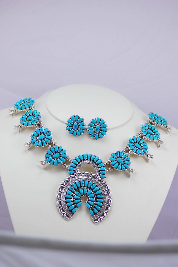 Zuni – Mid Size Sleeping Beauty Turquoise Squash Blossom Necklace by Justin JR. and Saraphina Wilson